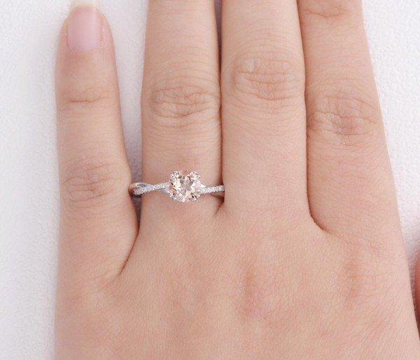 Round Pink Morganite Double Prong Twist Ring - Finger