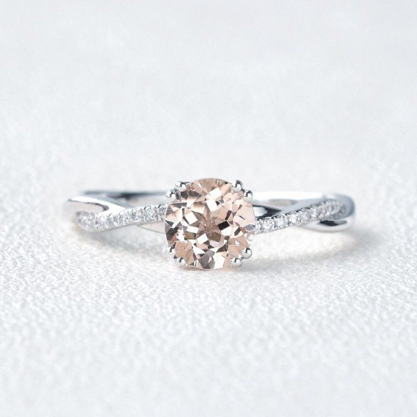 Round Pink Morganite Double Prong Twist Ring - Front