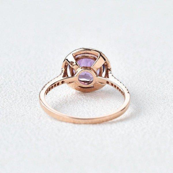 Round Amethyst Halo Eternity Ring - Back