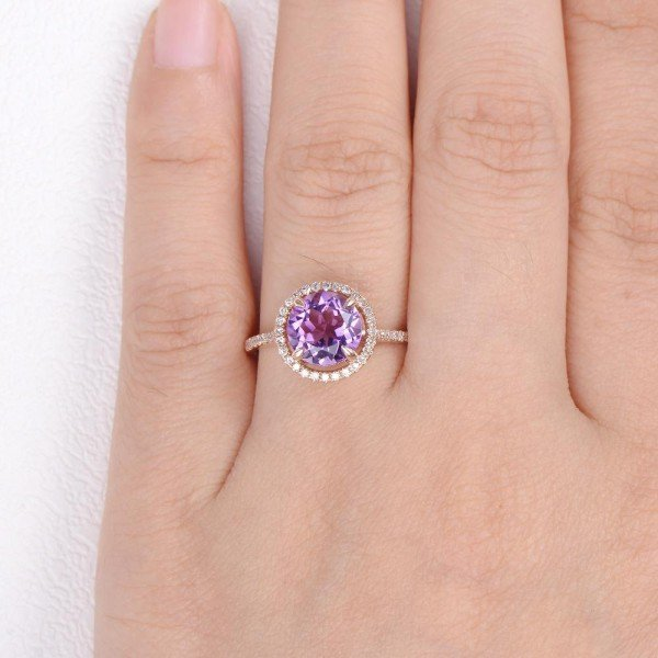 Round Amethyst Halo Eternity Ring - Finger