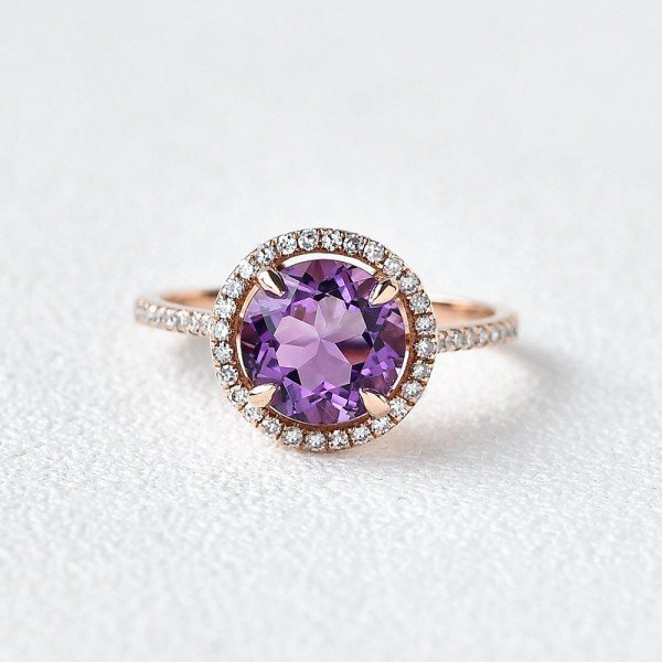 Round Amethyst Halo Eternity Ring - Front
