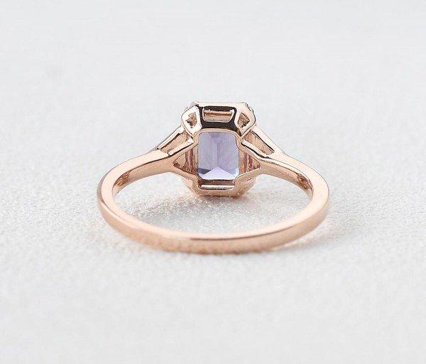 Emerald Cut Amethyst Antique Trinity Ring - Back