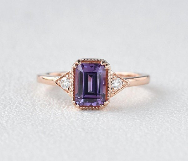 Emerald Cut Amethyst Antique Trinity Ring - Front